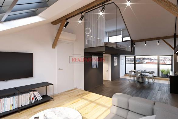 Nový mezonetový byt 3+kk o ploše 99,4 m² + 2x terasa 14,5 m² v historické části Žižkova.