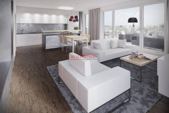 Nový 3+kk o ploše 103,46 m² + balkón 4,23 m² se ZS orientací a výhledem na Prahu - kolaudace 9/2018.
