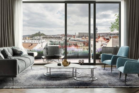 Mezonetový byt 4+kk o ploše 177,4 m² + 143,7 m² terasa na Praze 1 - Nové město.