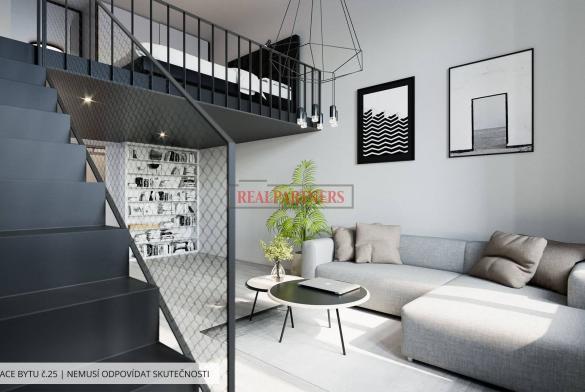 Zrekonstruovaný byt 2+kk o ploše 88,3 m² s galerií na Praze 1 - Nové město.