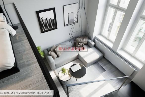 Zrekonstruovaný byt 1+kk o ploše 19,9 m², konstrukční mezipatro 6,8 m² na Praze 1 - Nové město.