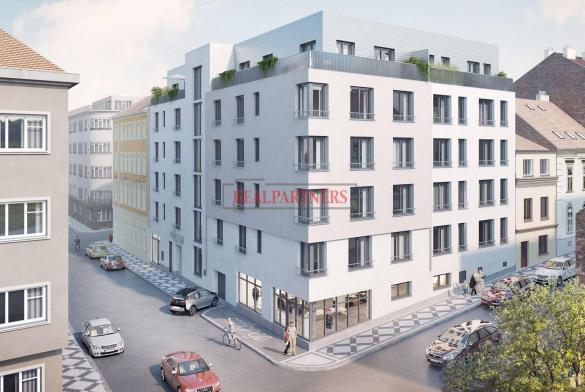 Nový byt 3+kk o ploše 70,9 m² + 6,1 m² balkon + 21,6 m² terasa na rozhraní Smíchova a Radlic.