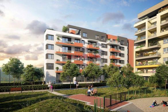 Nový 2+kk o ploše 51,5m + 7,4 m² balkon s výhledem do parku.