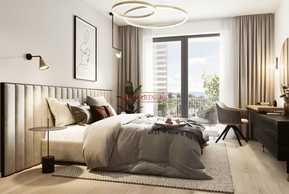 Ubytovací jednotka 2+kk s trvalým bydlištěm 58,3 m²+8,3 m² balkon v nadčasové novostavbě u Vltavy.