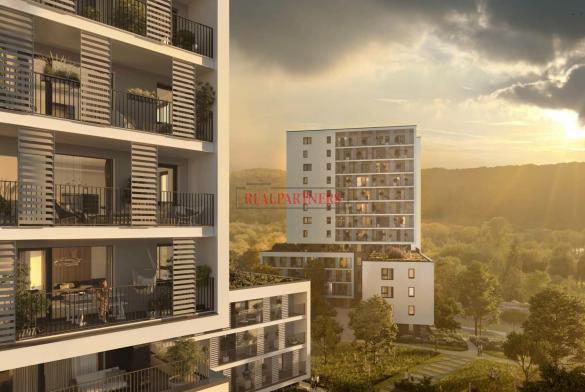 Nový byt 1+kk o ploše 32,2 m² + 7 m² balkon s krásným výhledem k Vltavě na západ.