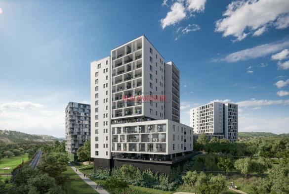 Nový byt 2+kk o ploše 52,2m + 15,1 m² balkon v nadčasové novostavbě u Vltavy.