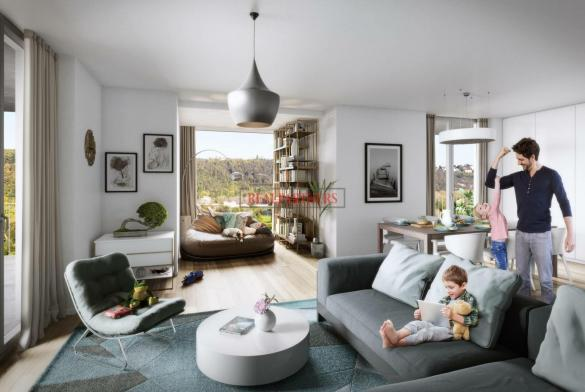 Nový byt 3+kk o ploše 91,4 m² + 14,2 m² balkon s volným výhledem k Vltavě.