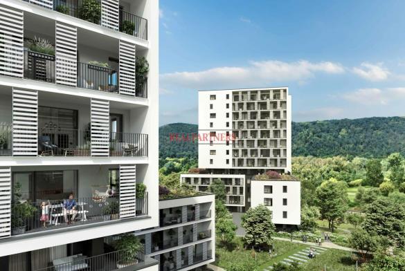 Nový byt 1+kk o ploše 32,2 m² + 6,4 m² balkon s krásným výhledem k Vltavě na západ.