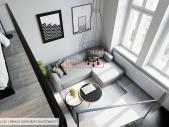 Zrekonstruovaný byt 2+kk o ploše 57,3 m²+11,4 m² terasa vč. 2x mezipatro 15,8 m² na Praze 1-Nové město.